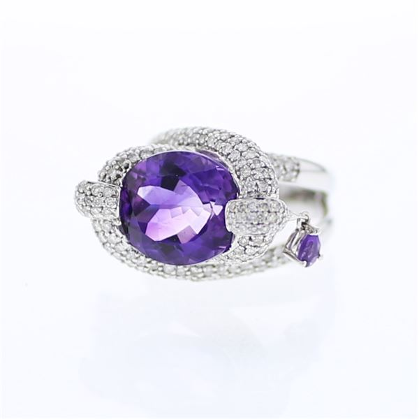 Natural 10.15 CTW Amethyst & Diamond Ring 18K White Gold - REF-230F4M