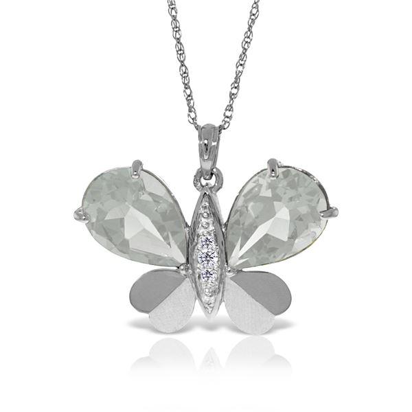 Genuine 11.10 ctw White Topaz & Diamond Necklace 14KT White Gold - REF-130N2R