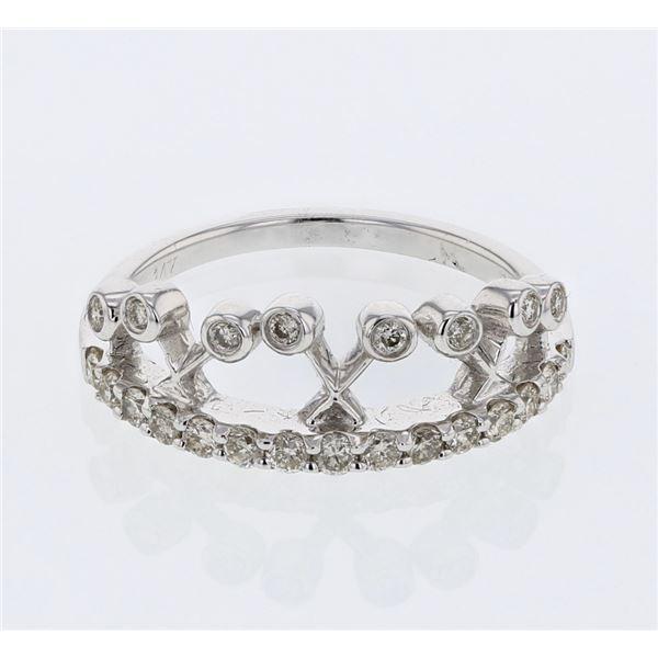 Natural 0.47 CTW Diamond Ring 14K White Gold - REF-57F6M