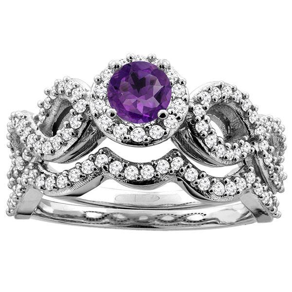 0.92 CTW Amethyst & Diamond Ring 10K White Gold - REF-81R5H