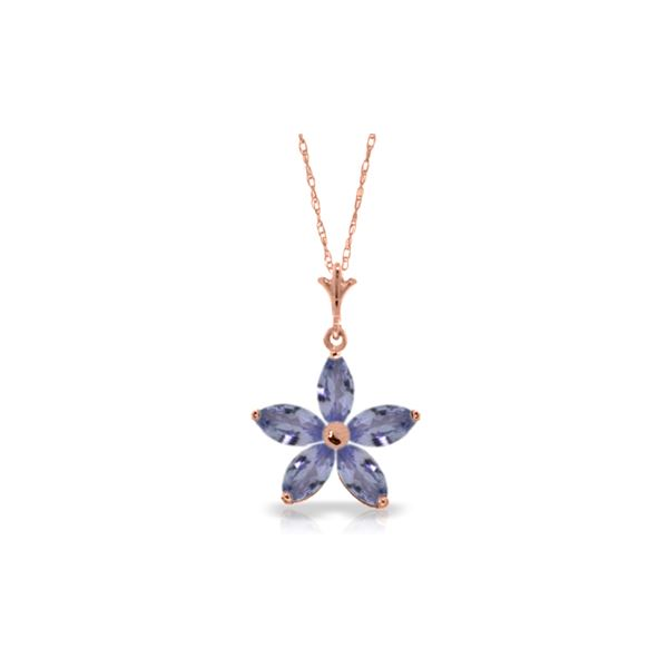 Genuine 1.40 ctw Tanzanite Necklace 14KT Rose Gold - REF-37F6Z