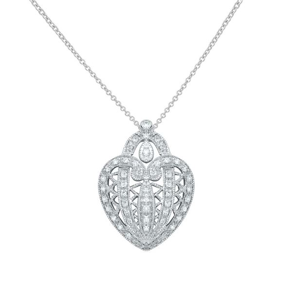 Natural 0.46 CTW Diamond Necklace 18K White Gold - REF-103W5H