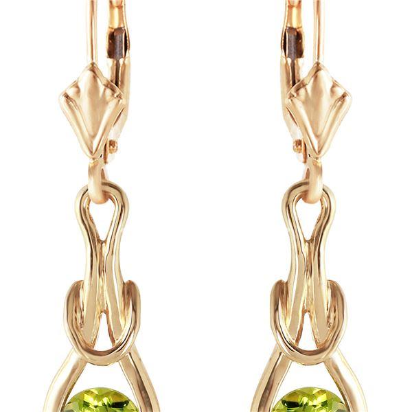 Genuine 1.30 ctw Peridot Earrings 14KT Yellow Gold - REF-49V3W