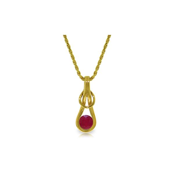Genuine 0.65 ctw Ruby Necklace 14KT Yellow Gold - REF-77Z5N