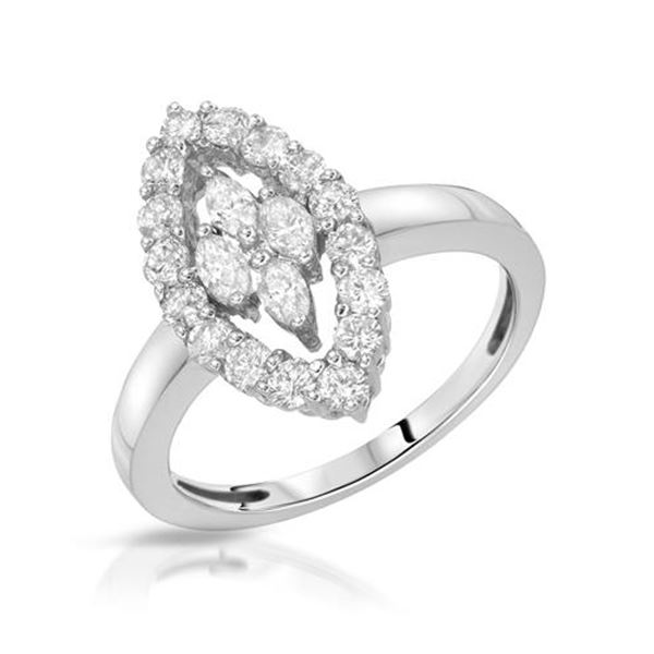 Natural 0.97 CTW Diamond & Marquise Ring 14K White Gold - REF-106K2R
