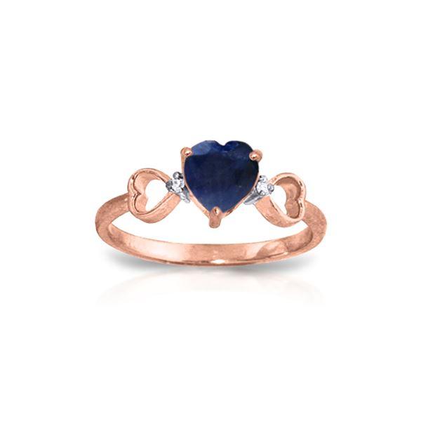 Genuine 1.01 ctw Sapphire & Diamond Ring 14KT Rose Gold - REF-43M2T