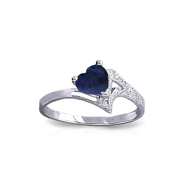 Genuine 1 ctw Sapphire Ring 14KT White Gold - REF-43M2T