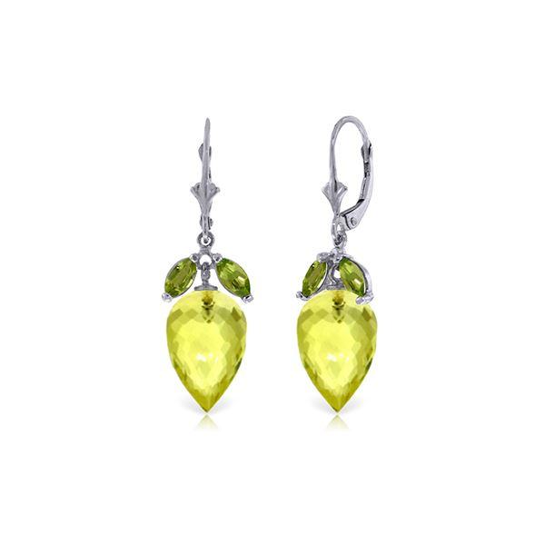 Genuine 19 ctw Quartz Lemon & Peridot Earrings 14KT White Gold - REF-45V7W