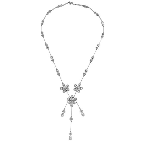 Natural 3.01 CTW Diamond Necklace 14K White Gold - REF-298K8R