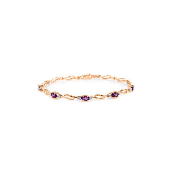 Genuine 2.96 ctw Amethyst & Diamond Bracelet 14KT Rose Gold - REF-82W6Y