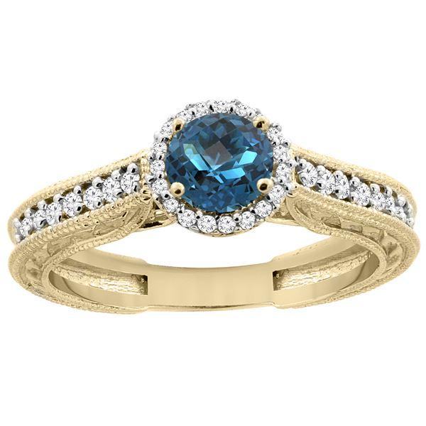 1.24 CTW London Blue Topaz & Diamond Ring 14K Yellow Gold - REF-57V5R