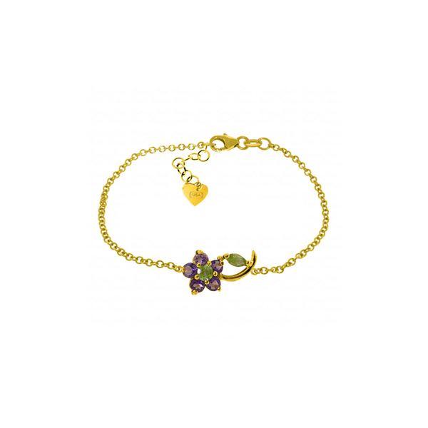 Genuine 0.87 ctw Peridot & Amethyst Bracelet 14KT Yellow Gold - REF-50Z5N