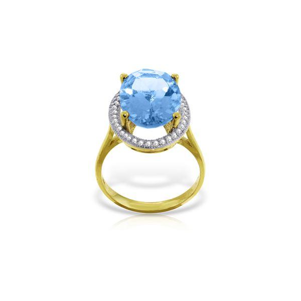 Genuine 7.58 ctw Blue Topaz & Diamond Ring 14KT Yellow Gold - REF-85A2K