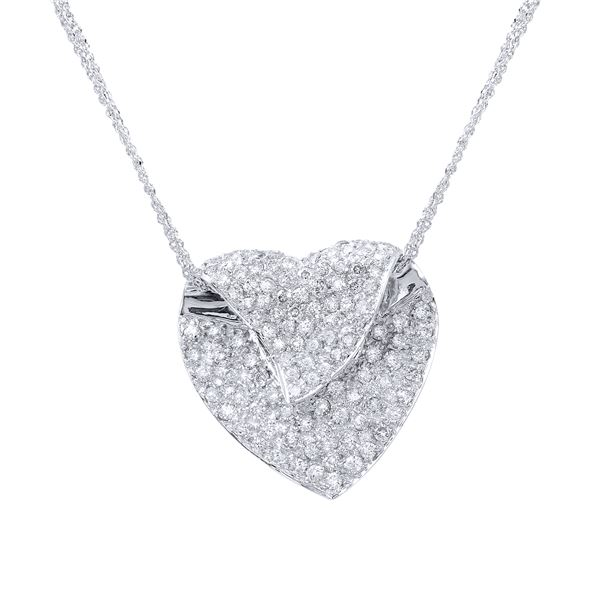 Natural 1.18 CTW Diamond Necklace 14K White Gold - REF-115T2X