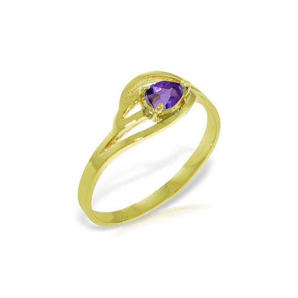 Genuine 0.30 CTW Amethyst Ring 14KT Yellow Gold - REF-30V5W