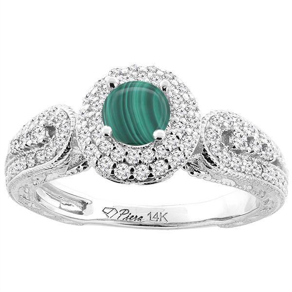 1.86 CTW Malachite & Diamond Ring 14K White Gold - REF-89M2A