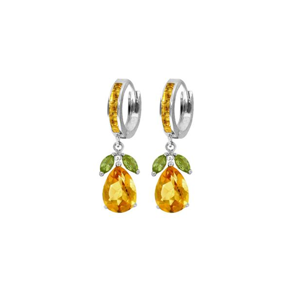 Genuine 14.3 ctw Peridot & Citrine Earrings 14KT White Gold - REF-82R9P