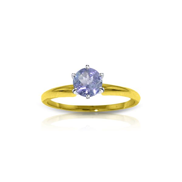 Genuine 0.65 ctw Tanzanite Ring 14KT Yellow Gold - REF-32X2M