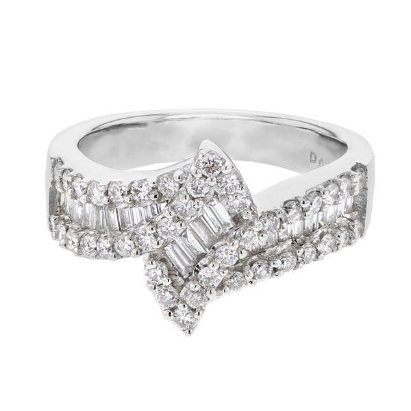 Natural 1.04 CTW Diamond & Baguette Ring 18K White Gold - REF-171K2R