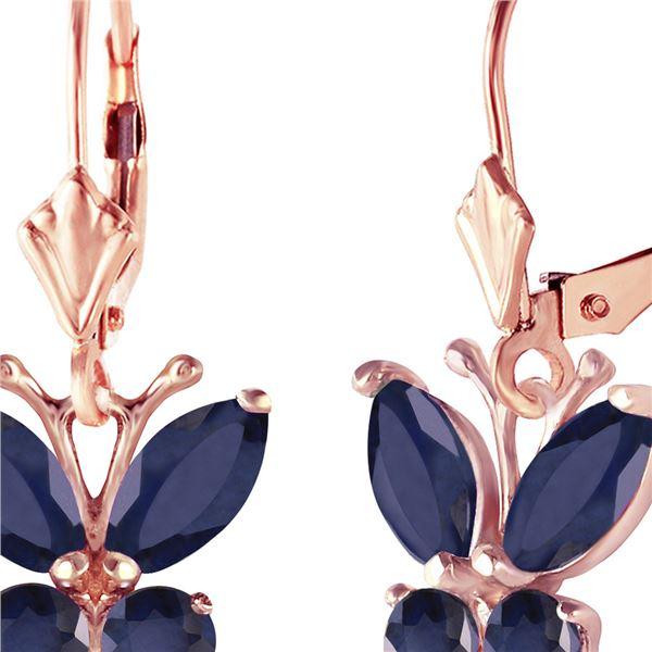 Genuine 1.24 ctw Sapphire Earrings 14KT Rose Gold - REF-42Z9N