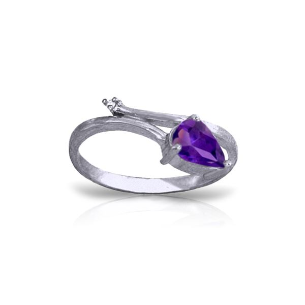 Genuine 0.83 ctw Amethyst & Diamond Ring 14KT White Gold - REF-40H5X