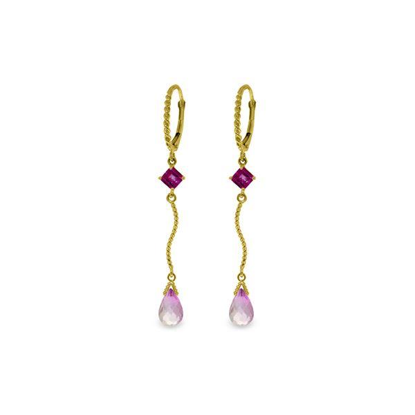 Genuine 3.5 ctw Pink Topaz Earrings 14KT Yellow Gold - REF-35V4W