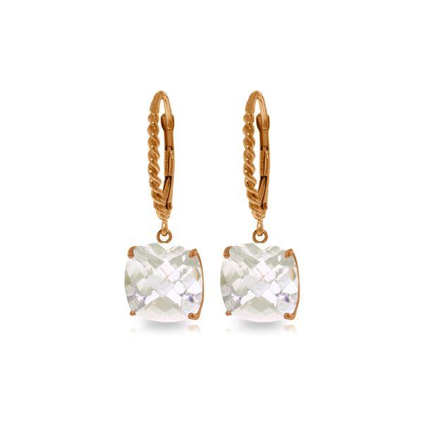 Genuine 7.2 ctw White Topaz Earrings 14KT Rose Gold - REF-48K3V