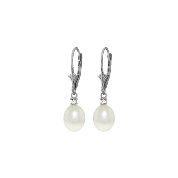 Genuine 8.1 ctw Pearl & Diamond Earrings 14KT Rose Gold - REF-27A2K