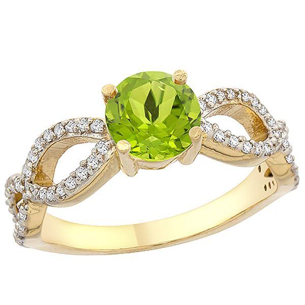 1 CTW Peridot & Diamond Ring 10K Yellow Gold - REF-49M6A