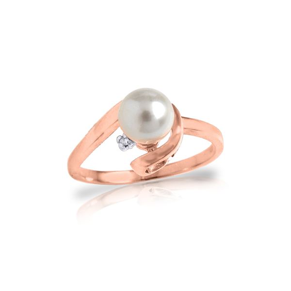 Genuine 1.01 ctw Pearl & Diamond Ring 14KT Rose Gold - REF-38P2H