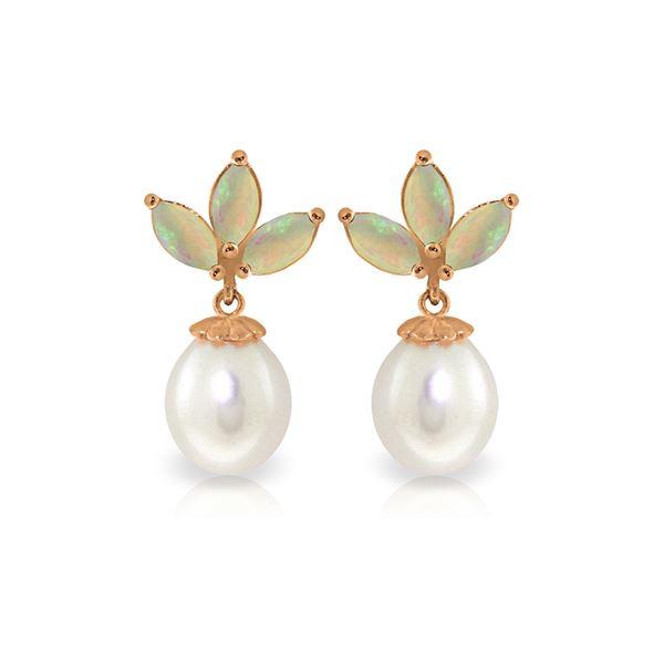 Genuine 9.5 ctw Opal & Pearl Earrings 14KT Rose Gold - REF-34T3A