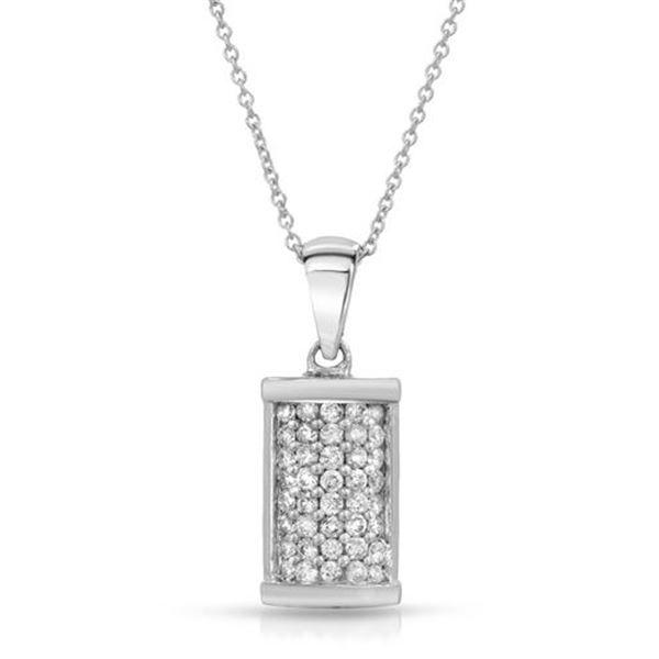 Natural 0.50 CTW Diamond Necklace 14K White Gold - REF-50T4X