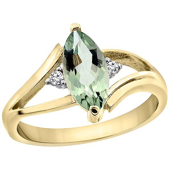1.04 CTW Amethyst & Diamond Ring 10K Yellow Gold - REF-22W9F