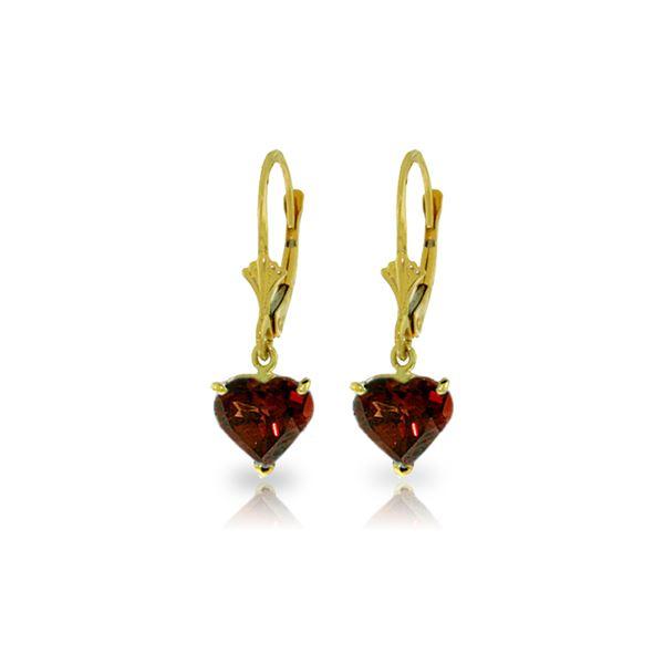 Genuine 3.05 ctw Garnet Earrings 14KT Yellow Gold - REF-29H7X