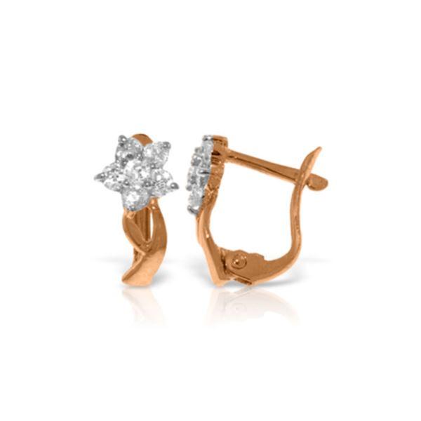Genuine 0.40 ctw Diamond Anniversary Earrings 14KT Rose Gold - REF-59V2W