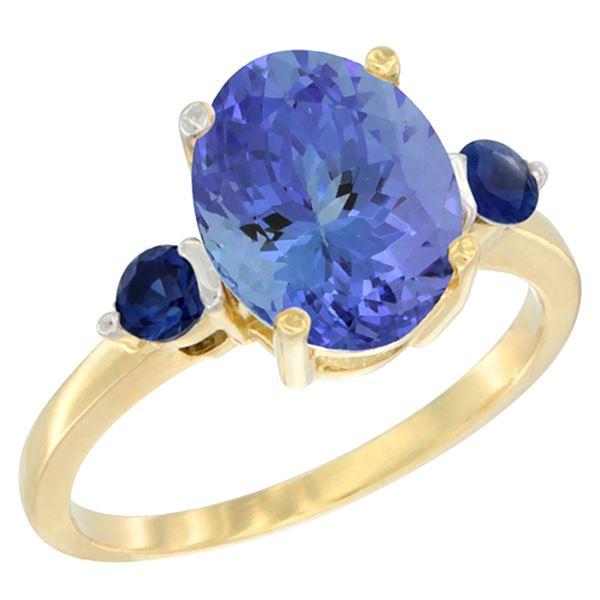 2.63 CTW Tanzanite & Blue Sapphire Ring 14K Yellow Gold - REF-63K7W