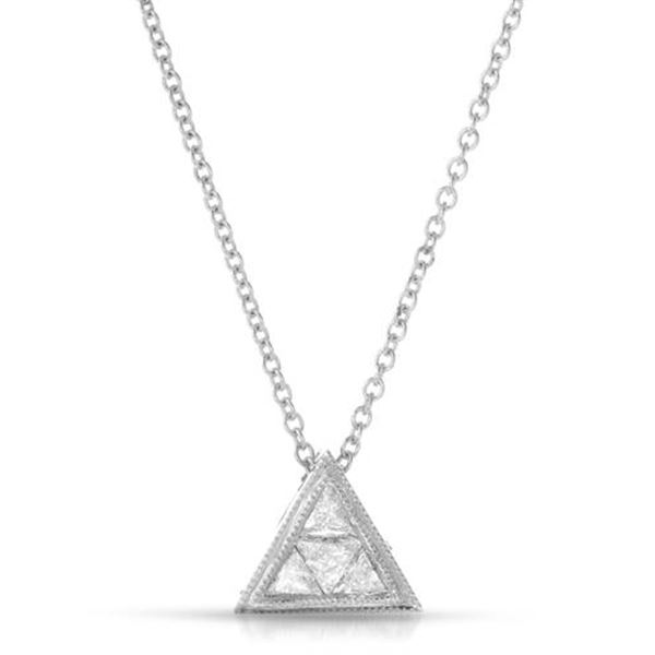 Natural 0.21 CTW Trillian Diamond Necklace 14K White Gold - REF-44W3H