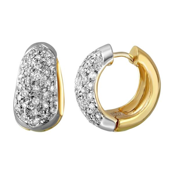 Natural 2 CTW Diamond Earrings 14K Two Tone Gold - REF-217W8H