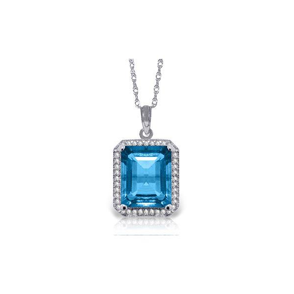 Genuine 7.8 ctw Blue Topaz & Diamond Necklace 14KT White Gold - REF-72N8R