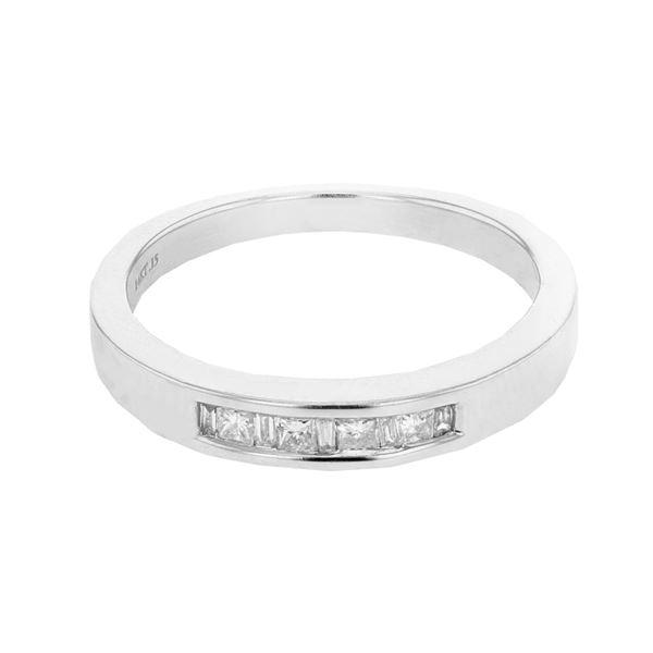 Natural 0.15 CTW Princess Diamond & Baguette Ring W=2.5MM 14K Gold - REF-32F4M