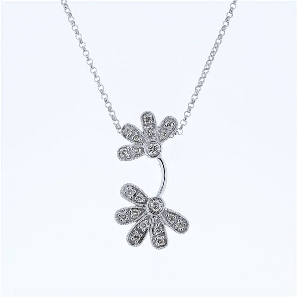 Natural 0.233 CTW Diamond Necklace 14K White Gold - REF-45N9Y
