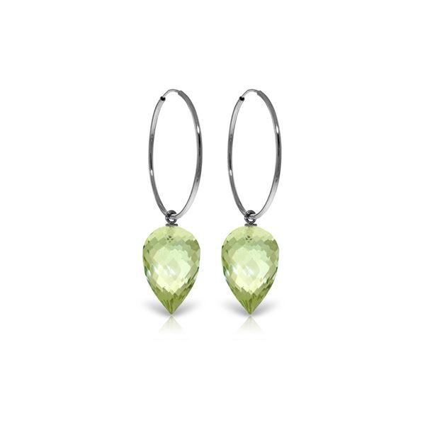 Genuine 19 ctw Amethyst Earrings 14KT White Gold - REF-38H6X