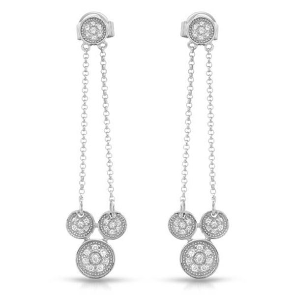 Natural 0.24 CTW Diamond Earrings 14K White Gold - REF-42T3X