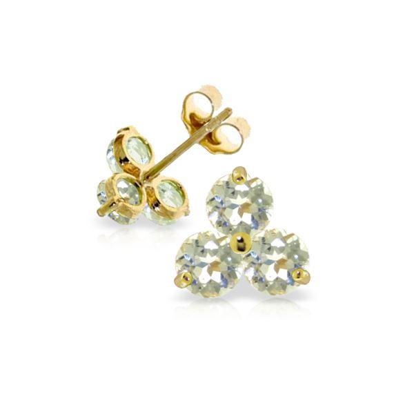 Genuine 1.50 ctw Aquamarine Earrings 14KT Yellow Gold - REF-22K3V