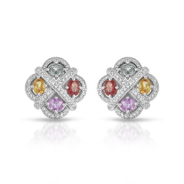 Natural 4.30 CTW Multi-Sapphire & Diamond Earrings 14K White Gold - REF-187K2R