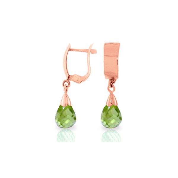 Genuine 2.5 ctw Peridot Earrings 14KT Rose Gold - REF-22M3T