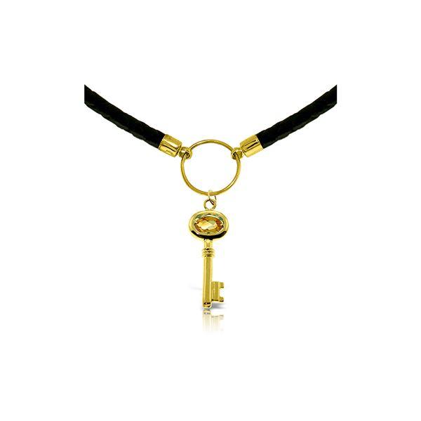 Genuine 0.50 ctw Citrine Necklace 14KT Rose Gold - REF-65F8Z