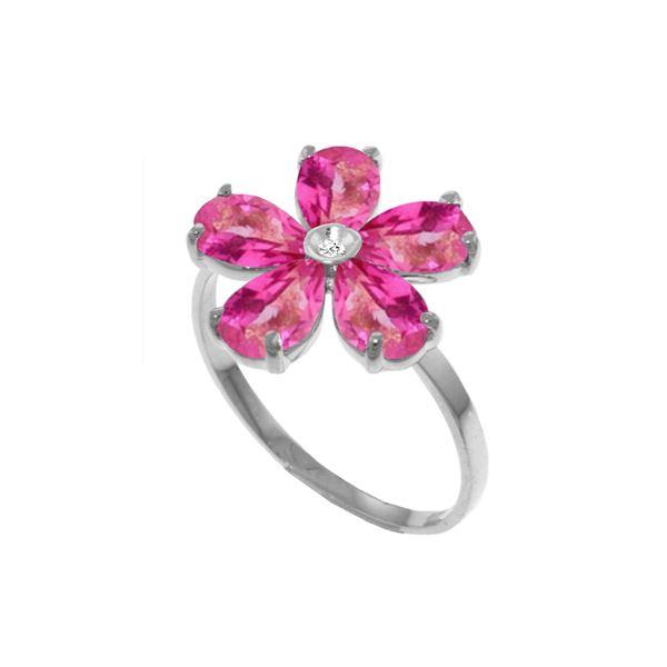 Genuine 2.22 ctw Pink Topaz & Diamond Ring 14KT White Gold - REF-36A3K
