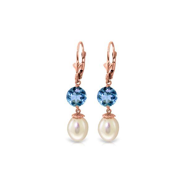Genuine 11.10 ctw Blue Topaz Earrings 14KT Rose Gold - REF-26N6R