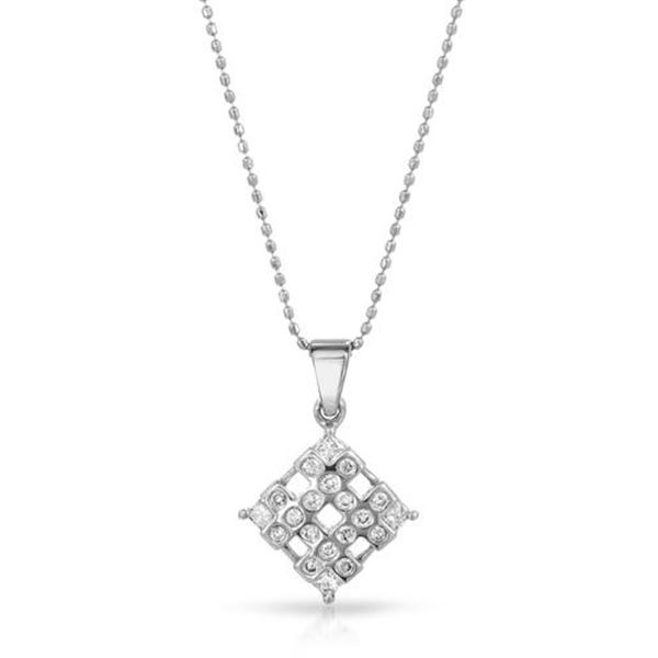 Natural 0.35 CTW Diamond & Princess Diamond Necklace 14K White Gold - REF-49F5M